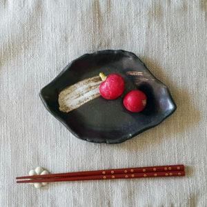 Mino ware plate 13,5cm: Chigiri leaf