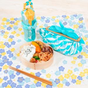 Handmade Furoshiki cloth Organic cotton: Yellow and blue Peony