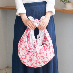 Handmade Furoshiki cloth: Reversible Sakura 1940's design blue/pink