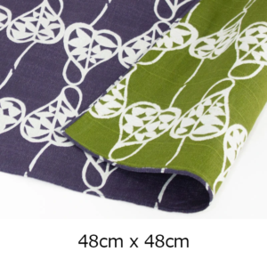 Handmade Furoshiki cloth: Reversible 1940's Heart Vine design purple/green