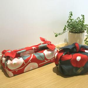 Handmade Furoshiki cloth: Camellia Red and pink