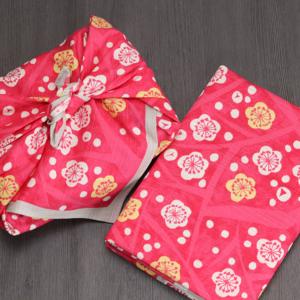 Handmade Furoshiki cloth: Vivid Ume apricot Taisho retro
