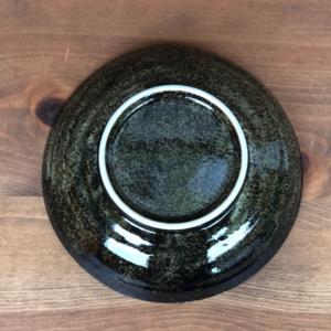 Mino ware Deep Plate 21cm: Dark green Miruiro