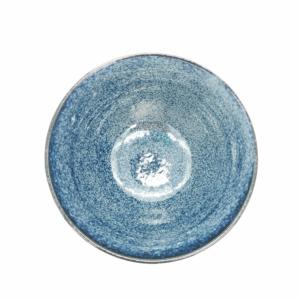 Mino ware Rice bowl: Kezuri Indigo