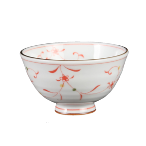 Mino ware Rice bowl: Red flower